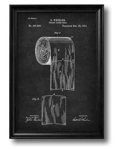 "Vintage 1891 Patent Drawing ""TOILET PAPER ROLL"" Retro Art Print, Bathroom Decor"