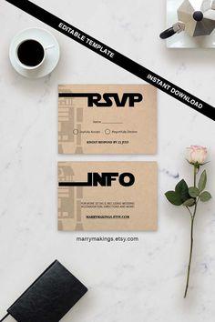Wedding RSVP Template 15   Printable Wedding Template   Editable RSVP Card   Wedding Rsvp Template   Instant Download   Star Wars Wedding