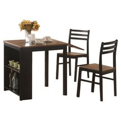 Found it at Wayfair - Persia 3 Piece Dining Set in Ebony & Brown