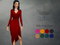 A beautiful wrap dress with asymmetric hem and plunging neckline. Inspired by the one and only Bella Goth.  Comes in 8 colours.  Found in TSR Category 'Sims 4 Female Everyday'
