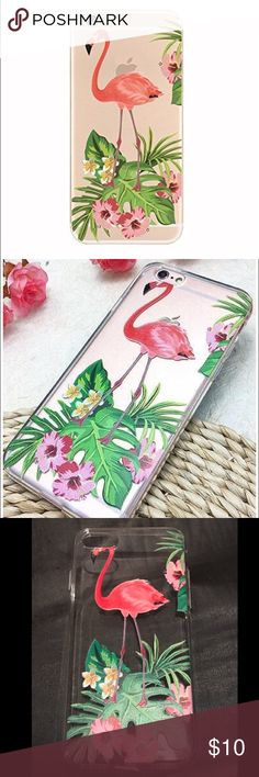 New iPhone 7 Flamingo Hawaiian Soft Flexible Case New! Transparent clear flexible slim rubber iPhone 7 case. There aren't any tags on this case but it's brand new. It has never been used. Accessories Phone Cases