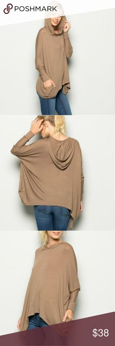 ARRIVED  Hoodie top w/ long sleeve Taupe knit solid hoodie top with long sleeve, loose fit &  very comfortable Soft material 95% Rayon 5% spandex Tops
