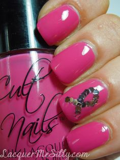 Breast Cancer Awareness Mani using Cult Nails Devious Nature