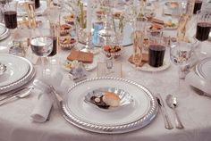 Disposable China for Wedding Receptions | Disposable Dinnerware-Silver Masterpiece $9.96 per place setting & Bulk Wedding Disposable Plastic Plates silverware and wine cups ...