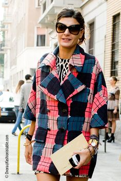 Multi coloured printed coat Fashion photography Street style