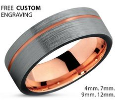 Black Tungsten Ring Rose Gold Wedding Band Ring Tungsten Carbide 7mm 18K Tungsten Ring Man Wedding Band Male Women Anniversary Matching  B. •:*¨`*:•E.•:*¨`*:•L.•:*¨`*:•L.•:*¨`*:•Y.•:*¨`*•:*¨`*:•S.•:*¨`*:•S.•:*¨`*:•A  Luxury 18k Rose Gold & Black Tungsten Carbide Mens Wedding Band Ring in Comfort Fit and Polished Finish. In terms of durability tungsten carbide rings are top notch. Tungsten carbide is roughly 10 times stronger than gold and 4 times stronger than titanium. Tungsten carbide will…