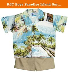 RJC Boys Paradise Island Surf 2pc Set Blue 3T. SIZING INFO | RJC | Boys | 2pc Cabana Set | SIZING FACTS | please do not use Amazon's generic sizing info for this cabana shirt | these are the measurements of the cabana shirts, NOT your boy's body | this cabana camp shirt is wider and shorter than RJC boy's camp shirt | SIZING TIPS | this 2pc set runs small for most boys | to ensure a right fit, please measure a shirt that fits your boy comfortably and order the cabana shirt according to…