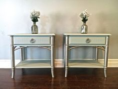 Shabby Chic Gray & Silver End Tables - Custom Order for Jenny