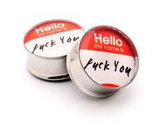 Hello My Name Is Picture Plugs gauges  00g by mysticmetalsorganics, $19.99