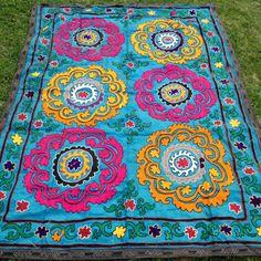Suzani Bedspread, Suzani Embroidery, Vintage UZBEK, Suzani Tapestry