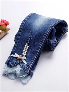 Girls Long Sleeve Button Down Denim Tunic Artisanats Denim, Denim And Lace, Diy Lace Jeans, Denim Tunic, Denim Fashion, Fashion Pants, Fashion Outfits, Punk Fashion, Lolita Fashion