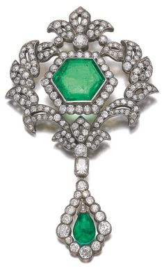 Emerald and diamond pendent brooch, 19th century. Set at the centre with a…