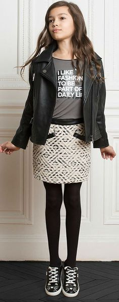 149cf9e98 KARL LAGERFELD KIDS Girls Mini Me Odina Leather Jacket & Black Cotton Tweed  Skirt