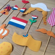 """Hollandse Photo Booth Ideal for King's Day, an """"I love Holland"""" theme or at a party! Deborah van de Leijgraaf, illustrator, drew these amazing props that you can print in color or that you can… Diy And Crafts, Crafts For Kids, Autumn Clematis, World Thinking Day, Kings Day, Jw Gifts, Homemade Art, Party Props, Girl Scouts"""