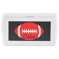 Custom Red and Black Football Cooler
