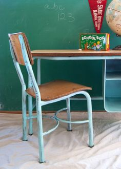 school desk and chair makeover