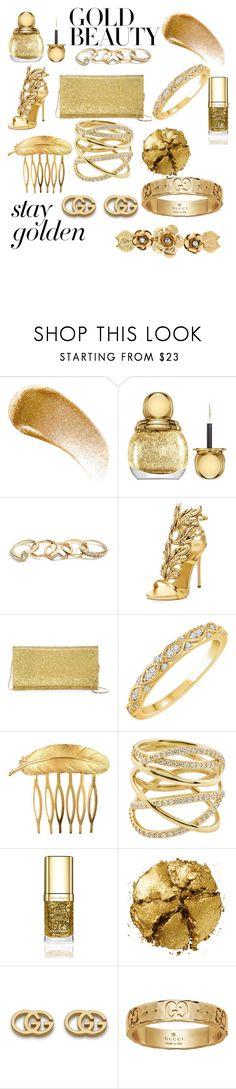 """Gold Gold Gold"" by kayd50 ❤ liked on Polyvore featuring BBrowBar, Christian Dior, GUESS, Giuseppe Zanotti, Sondra Roberts, Des Petits Hauts, Lana, Dolce&Gabbana, Pat McGrath and Gucci"