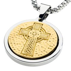 Unique Tungsten Medallion Necklace. Stainless Steel Celtic Cross Inlay with 18kt Gold Plating.