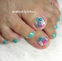 Tropical Nail Art, Super Cute Nails, Toe Nail Designs, Toe Nails, Mariana, Tela, Pretty Toe Nails, Simple Toe Nails, Animal Nail Designs