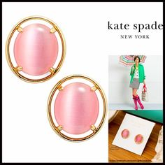 """❗️1-HOUR SALE❗️KATE SPADE EARRINGS Pastel Stone NEW WITH TAGS   KATE SPADE EARRINGS Pastel Stone Gold Round Earrings  * Bezel set drop round glossy cat eye stone stud earrings.   * Plated & polished   * Each earring measures about 3/8"""" wide  * Post Back; 1/2"""" drop  Material: 14k gold plated & glass cat's eye. Item: Pastel Pink No Trades ✅ Offers Considered*/Bundle Discounts✅ *Please use the 'offer' button to submit an offer. kate spade Jewelry Earrings"""