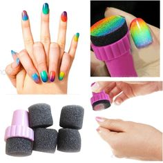 Useful Hot Sale Nail Art Accessories Polish Sponge Brush Stamping Polish Template Transfer Manicure Gradient Color Making Tool Free Sponge Replacement Gift