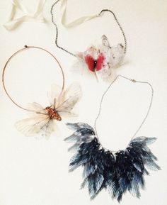 Organza Butterflies Headband with rhinestones in Red by jewelera