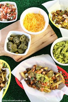 The perfect football party food is these Nacho Fries with all the fixins'. Serve them for Super Bowl Sunday.