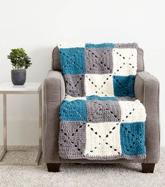 Crochet Granny Square Blankets How To Make A Bold Blocks Crochet Blanket - Crochet Square Blanket, Crochet Squares Afghan, Crochet Square Patterns, Crochet Quilt, Crochet Blocks, Crochet Blanket Patterns, Baby Blanket Crochet, Granny Squares, Crochet Granny