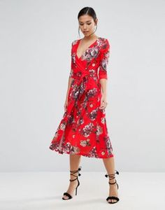 ASOS | ASOS Crepe Midi Dress in Floral Print