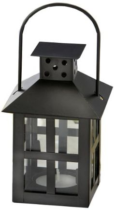 Luminous Black Mini-Lantern Tea Light Holder with soy tealight *** Click image for more details.