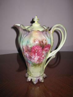 Beautiful rs prussia chocolate pot in yellow, purple with pink floral