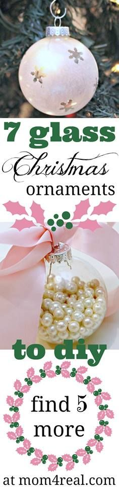 7 Simple Glass Globe Christmas Ornament Ideas from mom4real.com - #DIY #Christmas #Ornaments