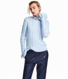 Cable-knit Sweater | Light blue | WOMEN | H&M US