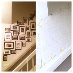 Stairway idea, trappenhuis, trapgat. Eerst op papier model en indeling gemaakt daarna gekopieerd op muur voor 100%resultaat.