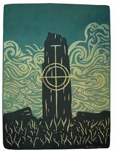 Print by Kevin McSherry. Early Christian, Limited Edition Prints, Fine Art Paper, Irish, Chill, Darth Vader, Carving, Stone, Gallery