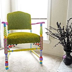 I love funky painted chairs!