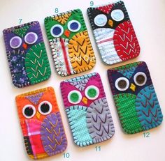 $12 Hand sewn felt phone cases: Cute Owl Ipod or Iphone Case, handmade from 100% Recycled Eco Friendly Felt, lined & accented with various vintage fabrics, and carefully stitched together with hand embroidery. A Cute & Colorful accessory to keep your gadgets safe!