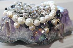 Handmade, statement piece, bracelet, with pearls, crystals, rhinestones, dangling beads
