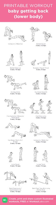 baby getting back (lower body) –my custom workout created at WorkoutLabs.com • Click through to download as printable PDF! #customworkout