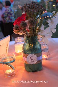 DIY kinda girl: Wedding: Tinted Mason Jars