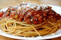 I've said this before, but we really don't lack for anything as vegetarians in our family. This pasta sauce of mine is another example:   R...