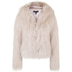 **Faux Fur Hooded Coat By Kendall + Kylie at Topshop found on Polyvore featuring outerwear, coats, jackets, pink, hooded coats, faux fur hood coat, pink coat, topshop and pale pink coat