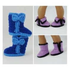 Fashion Boots in 3 Styles for American Girl Dolls  - downloadable crochet pattern & instructions