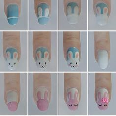 """""""Easter nails tutorial - learn how to draw cute rabbits"""" My mom asked me today if I would paint something similar to this on her nails. I said, that's a lot of work haha"""