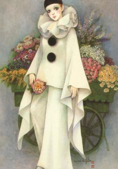 Pierrot - Colombine et Arlequin illustrés - Pierrot par Mira Pujita Pierrot Costume, Pierrot Clown, Vintage Circus, Vintage Art, Fall Halloween, Halloween Costumes, Clown Paintings, Porcelain Dolls Value, Creatures Of The Night