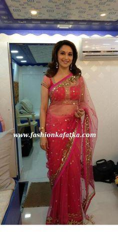 madhuri dixit in net saree Saree Gown, Net Saree, Bollywood Girls, Bollywood Saree, Rani Mukherjee Wedding, Madhuri Dixit Saree, Latest Saree Blouse, Tapas, Bengali Bridal Makeup
