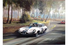 Lot 258 - An original Dion Pears oil on canvas of Le Mans 1962 depicting the Cunningham/Salvadori E Type.