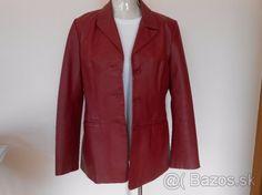 Nenosené bordové elegantné sako z pravej kože - 1