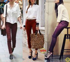 Look do Dia = Calça Vinho + Camisa Branca