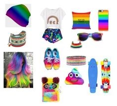 """""""RAINBOW"""" by yoitsdd ❤ liked on Polyvore featuring High Heels Suicide, Vans, Venessa Arizaga, Mishky, Accessorize, Boohoo, Casetify and claire's"""